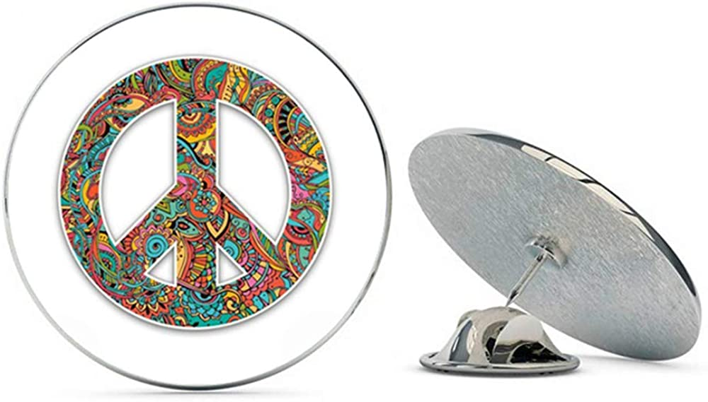 NYC Jewelers Floral Pattern Peace Sign Metal 0.75