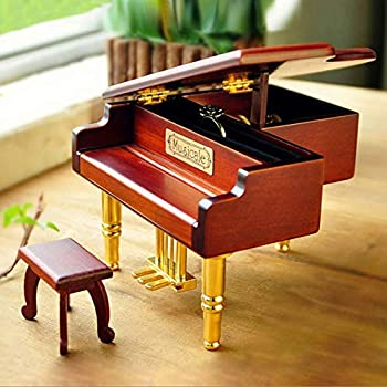 YANG1MN Vintage Wooden Piano Music Box Creative Storage Ring Unique Birthday Gift Valentine s Day Marriage Proposal Married 12 14 13cm