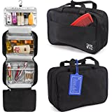 Premium Hanging Toiletry Bag Travel Kit For Women And Men.Organizer, Waterproof, Lightweight Cosmetic And Makeup Bag, Transparent Compartments, Black,Bonus Name Tag