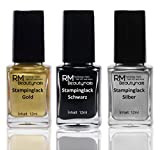 Stampinglack Set 3x12ml Gold Schwarz Silber Stamping Lack Nagellack Nail Polish RM Beautynails