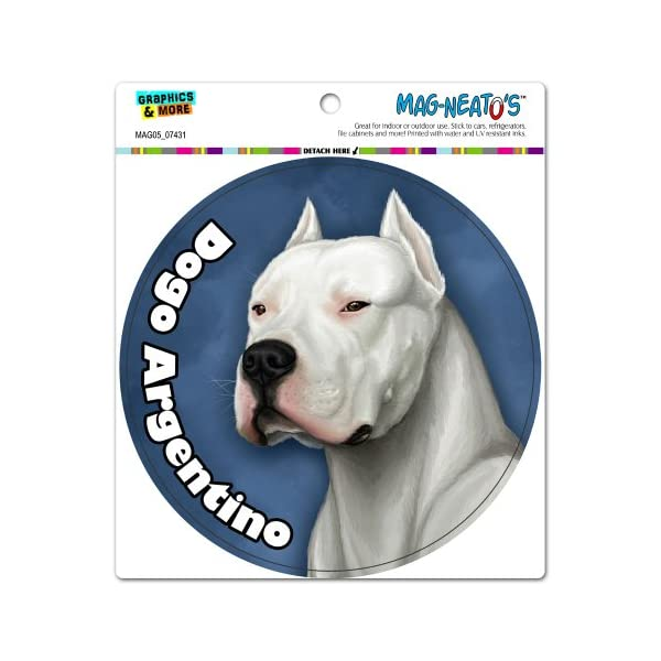 Graphics and More Dogo Argentino - Dog Pet Circle Automotive Car Refrigerator Locker Vinyl Magnet 1