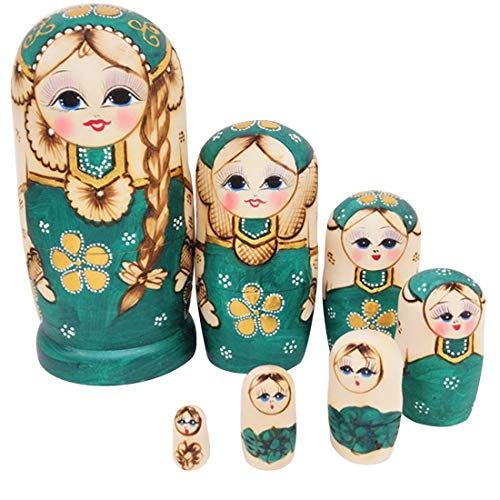 RAILONCH Matroschka Russische Puppen Hand Made in Russland 7 Stück Holz Geschenk Spielzeug