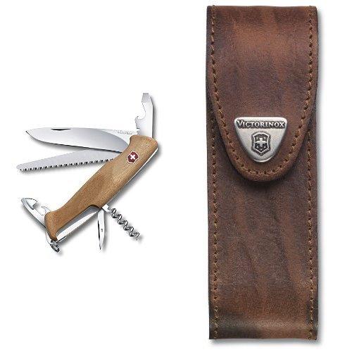 Victorinox Taschenmesser RangerWood 55 Nussbaum, 0.9561.63 & Victorinox Zubehör Etui Leder braun, 4.0547