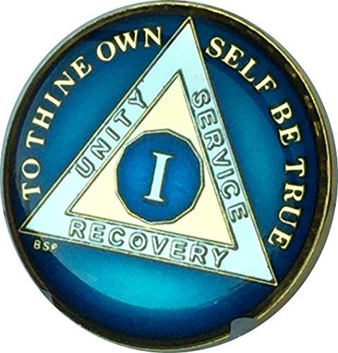 1 Year Midnight Blue AA Medallion Chip Tri Plate Gold & Nickel Plated Serenity Prayer