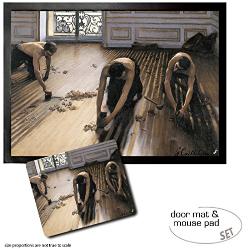 1art1 Gustave Caillebotte, Die Parkettschleifer, 1875 | Fußmatte Innenbereich und Außenbereich | Design Türmatte (70x50 cm) + Mauspad (23x19 cm) Geschenkset