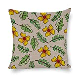 Funda de cojín de algodón y lino decorativa para el hogar, impresión a doble cara, diseño de pétalos verdes amarillos, flores, ámbar y naranja