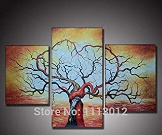 DIU Hand Painted Home Decoration 3 Panel Set Abstract Yellow Love Tree Oil Painting Modern On Canvas Wall Picture For Livi...
