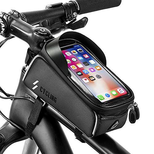 unibelin Fahrrad Rahmentasche, Rahmentasche Fahrradtasche Wasserdicht Fahrradtasche Touch-Screen sports Rahmentasche Oberrohrtasche Fahrrad Handyhalterung Geeignet für Handys bis 6 Zoll