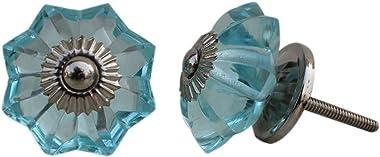 YourKart Interior Door Knobs Glass and Metal, Set of 10 (Turquise)