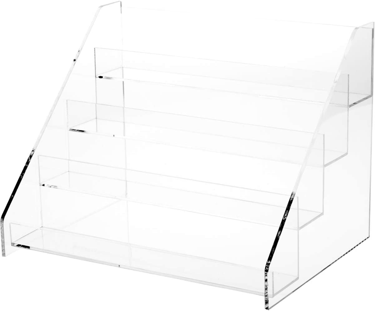 Plymor Clear Acrylic Flanged Display Stairs with 2