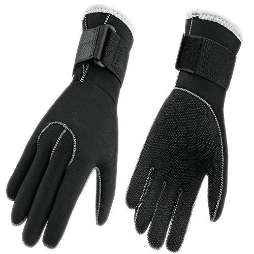 Cómodos guantes de neopreno de 3 mm, palma antideslizante, unisex., negro, L