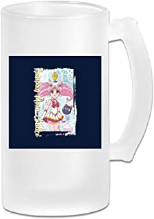 Printed 16oz Frosted Glass Beer Stein Mug Cup - Sailor Moon Rainbow Chalice - Graphic Mug