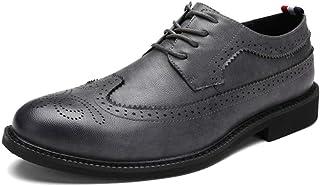 シューズ ファッション メンズシューズブロック刻まれた靴滑り止めフラットラウンドヘッドレースネクタイ通気性のドレスウェディングカジュアルシューズ 快適