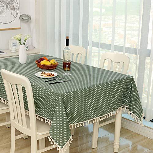Algodón Y Lino Color Sólido Borla Celosía Hogar Rectangular Mantel Raya Hotel Mantel Paño De Mesa De Té Paño De La Cubierta del Gabinete De TV 120x160cm
