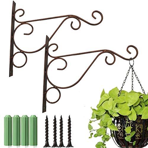 Fanbay 2 Stück rote Bronze-Metall-Pflanzenhalterungen Eisen Wandhalterung Laternen Aufhänger zum Aufhängen von Vogelfutterspendern, Laternen, Windspiel, Pflanzgefäßen, Outdoor-Dekorationshaken