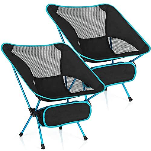 Silla de Camping, Silla Camping Plegable, sillas Plegables Playa, Carga máxima 120 KG, tubería de Acero + Tela Oxford, fácil de Desmontar y Montar, fácil de Transportar (YP293584_02, 2)
