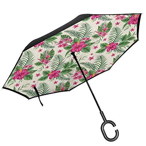 Watercolor Inside Out Umbrella Plumeria and Hibiscus Flora Tropical Island Nature Aloha Hawaii Jungle Protection Car Reverse Umbrellas with C-Shaped Handle