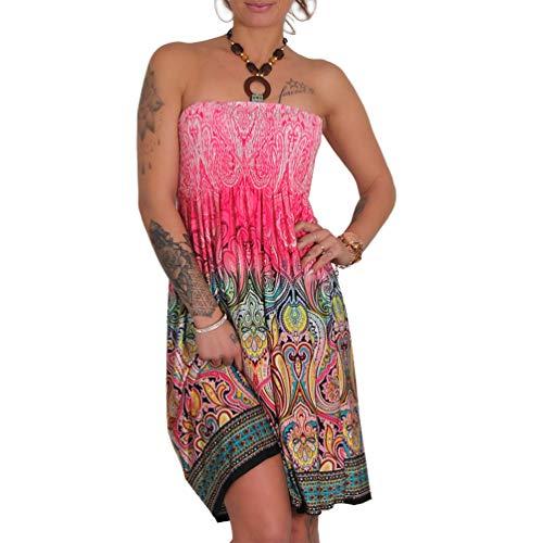 A105 Sommer Bandeau Kleid Holz-Perlen Damen Strandkleid Tuchkleid Tuch Aztec (37 Pink)