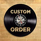 N / A 3D-Seven Colors-Remote Control-USB-Silent Wall Clock-Vintage Custom Vinyl Record Wall ClockCustom Order Your Design Your Logo Your Personalized Vinyl Clock