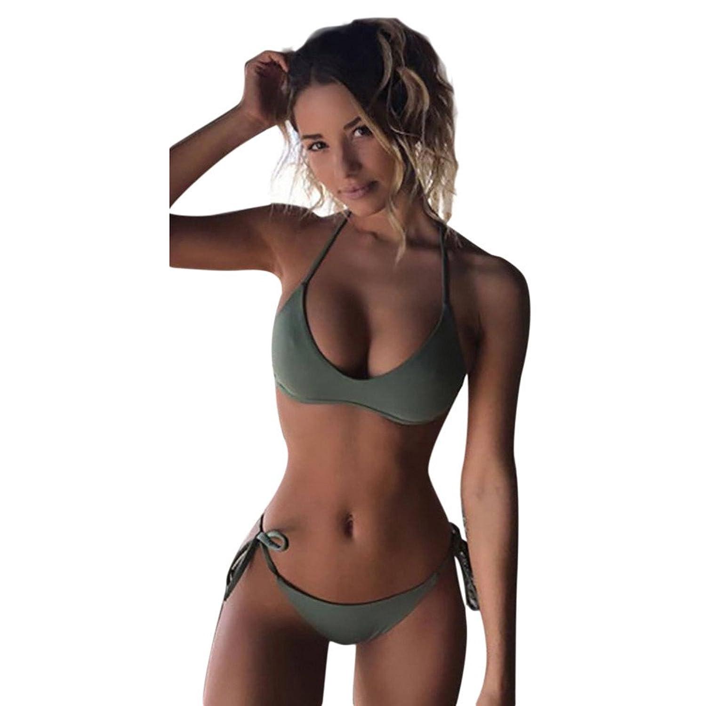 可愛い ビキニ & 上着 スリーピース スリム YOKINO 水着 レディース 可愛いビキニ フリル シンプル セクシー 二点セット パッド入り 体型カバー 2018年夏 Bikini-新作2705 (M, グリーン)