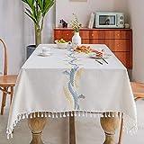 DJUX Mantel de Viento de Lino de algodón Tela Simple Arte decoración Mantel Rectangular Cubierta Toalla hogar té Mantel 140 * 140 cm