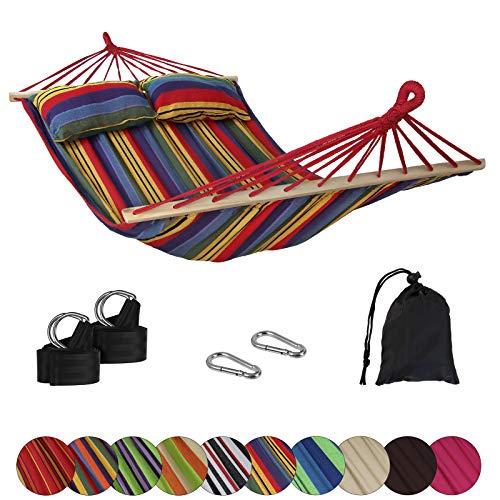 BB Sport Stabhängematte CIBAO inkl. 2 Kissen Liegefläche 240 x 150 cm in vielen Farben Traglast 300 kg für 2 Personen, Farbe:Mexico