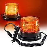 Luz LED estroboscópica, faro intermitente de advertencia de emergencia ámbar magnético para camión o vehículo con enchufe para mechero de coche de 12-24V
