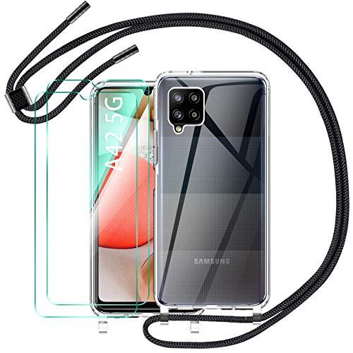 AROYI Funda Compatible con Cuerda Compatible con Samsung Galaxy A42 5G y 3 Pack Cristal Templado, Carcasa Transparente de TPU con Correa Colgante Ajustable Case, Negro