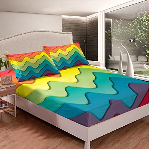 Juego de sábanas coloridas olas del océano para surf de olas marinas para niños, niñas, adolescentes, estilo náutico, juego de sábanas transpirable para decoración de habitación tamaño individual