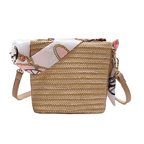 Vianber Bolso de señoras de la paja tejida bolso de la bufanda de la vendimia bolso de hombro de playa para las vacaciones de las mujeres