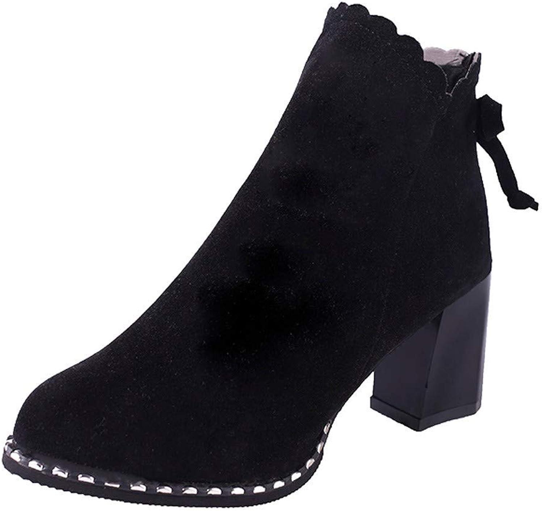 JaHGDU Womens Martin Female Thick Short Scrub Side Zip High Heels Bow Boots Fashion Leisure Elegant Soft Wild Tight Super Quality for Womens