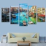 5 Paneles Impresiones Lienzo Pared Modernos Mural Fotos Decoración Para Colgar Regalos de vacaciones (Con Marco) Venecia ciudad del agua/150*80CM