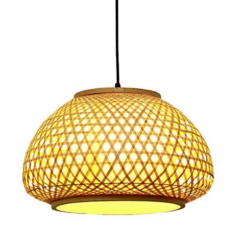 Uonlytech - Farol de bambú con colgante de lámpara de mimbre tejida para techo, estilo asiático para salón, café, salón de té, rústico