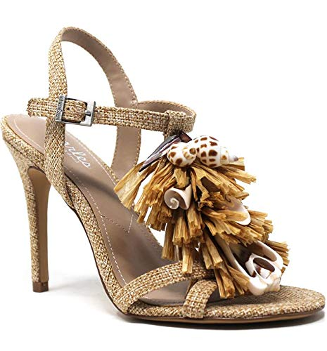 CHARLES DAVID Charles Women's Radical Sand High Heel Fringe Sandals (6.5, Sand)