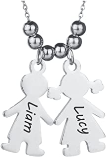 Boy and Girl Charm Pendant Necklace Custom Engraved Names Chain Option Mum Gift New Mom New Baby Gift for Her