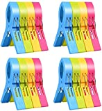 ilyever 16 Pack Fashion Color Beach Towel Clips for Beach Chair or Pool Loungers on Your Cruise-Jumbo Size-Keep Your Towel from Blowing Away,Clothes Lines