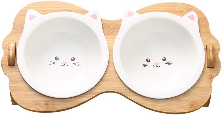 High order Pet Bowls unisex Ceramic Double Set Cat Dog Puppies Raised