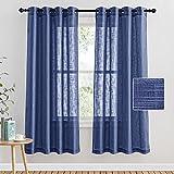 PONY DANCE Visillos Infantiles Azul Oscuro- Cortinas Largas Confeccionadas con Ollaos para Dormitorio Moderno/Visillos Lino Separador de Ambientes para Interiores, 2 Uds, 132 x 158 CM (An x L)