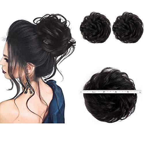 2PCS Messy Bun Hair Piece 100% Human Hair Scrunchies Buns Hair Pieces for Women Curly Wavy Black Bun Elegant Chignons Wedding.(Color:Natural Black)