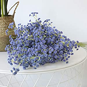 Silk Flower Arrangements SANJIANG 10 Pcs Baby Breath Gypsophila Artificial Flowers Bouquets Fake Real Touch Flowers for Wedding Party Decoration DIY Home Decor,Blue