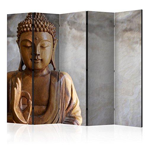 murando Raumteiler Spa Zen Buddha Foto Paravent 225x172 cm einseitig auf Vlies-Leinwand Bedruckt Trennwand Spanische Wand Sichtschutz Raumtrenner Home Office braun grau b-B-0193-z-c