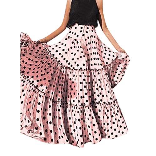 Iunser Damen Wellenpunkt Printed Sommer Casual Kleider Kurzarm Swing Dress Sommerkleid für Damen Damen Summer Beach Holiday Mode Sommer Strand (Pink,XL)