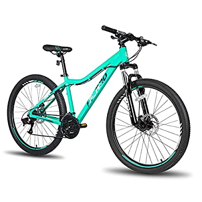 Hiland 26 Inch Mountain Bike Aluminum 21 Speed MTB Bicycle for Women 16 Inch with Suspension Fork Urban Commuter City Bicycle Mint Green