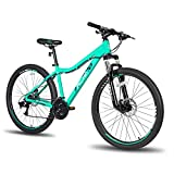 Hiland Mountain Bike 26/27.5 Inch Aluminum Frame 21 Speed with Dual Disc Brake Lock-Out Suspension Fork for Woman