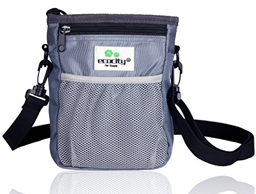 EcoCity Upgrade Version Dog Treat Pouch for Training- Built-in Poop Bag Dispenser, Perfect Carries Pet Toys, Treats - 3 Ways to Wear