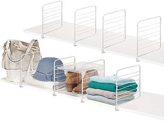 comprar comparacion mDesign Juego de 8 separadores metálicos para organizar armarios y estanterías – Prácticos divisores de estantes de Alambr...