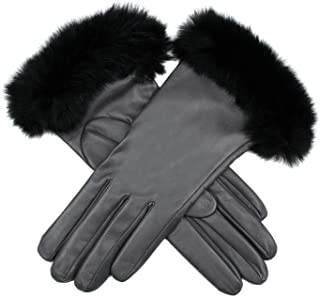 Dents Glamis Silk Lined Leatherwith Fur Cuffs Womens Gloves
