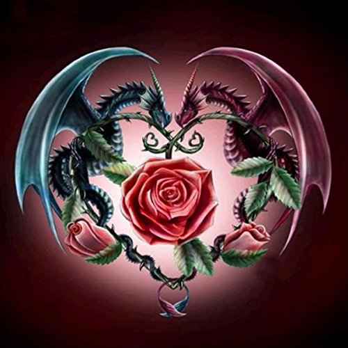 DIY 5D Diamond Painting by Number Kits for Adults, 3D Crystal Rhinestone Diamond Embroidery Paintings Pictures Arts Craft for Home Wall Decor, Two Dragons and Rose