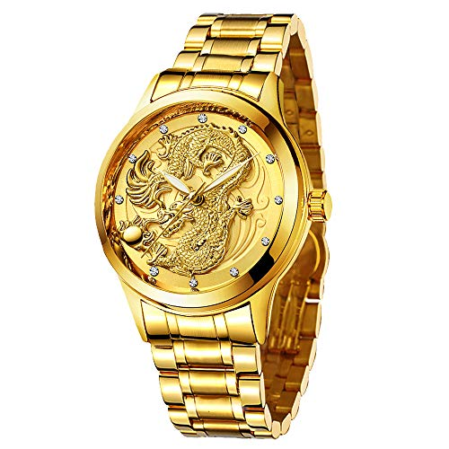 Udaney -Mens-Gold-Dragon-Watches-Golden Business Casual Quartz Wristwatch Stainless Steel Strap for Father Husband