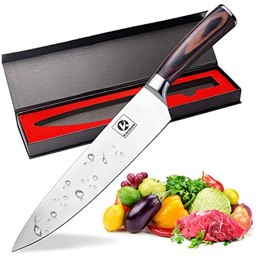 Chef Knife 8 Inch Kitchen Knife Ultra Sharp Knife Low Carbon Stainless Steel German Knife with Ergonomic Handle